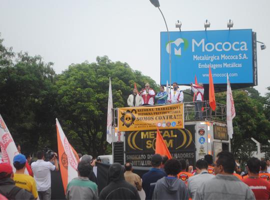 greve000 Ato de Greve Geral mobiliza metalúrgicos em Mococa