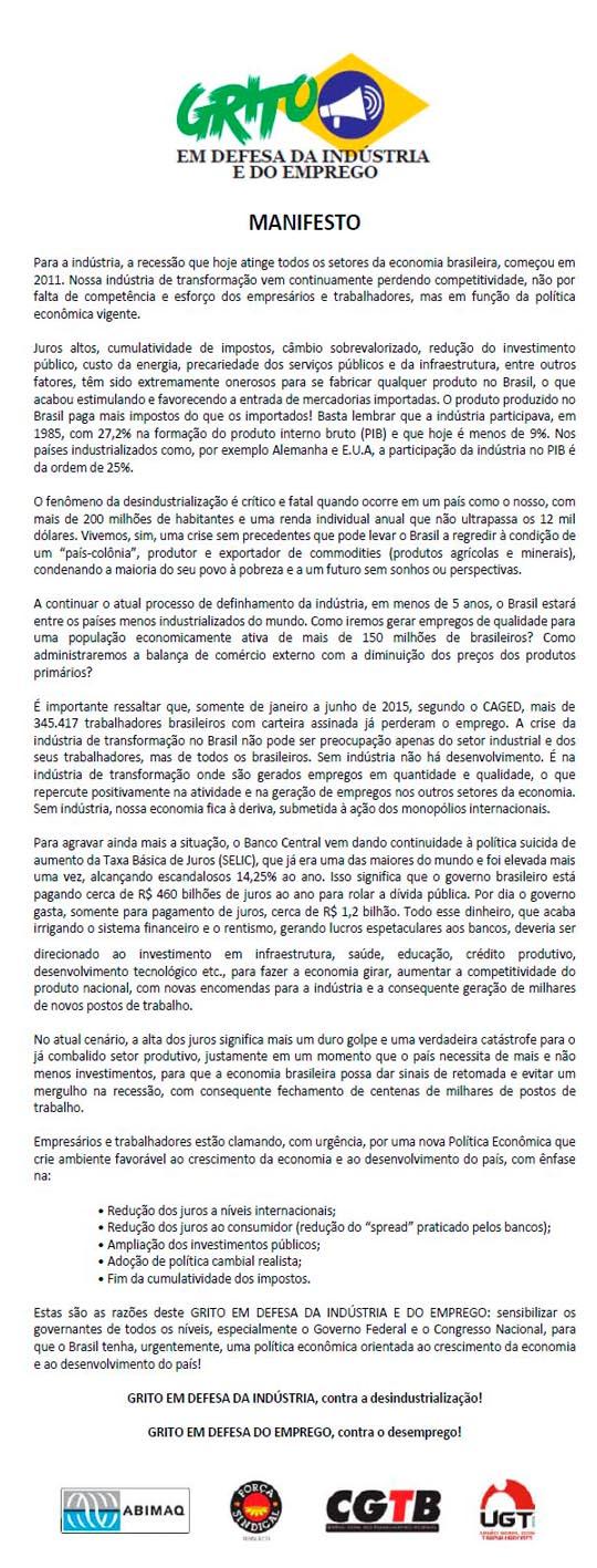 manifesto01 Grito em Defesa da Indústria e do Emprego