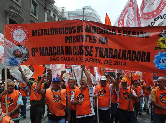 marcha01 Metalúrgicos de Mococa presentes   8ª Marcha reúne 40 mil trabalhadores em São Paulo