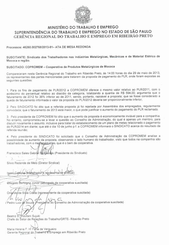 mesacopromem29mai201302 Mesa Redonda de Negociações por melhorias na PLR da Copromem