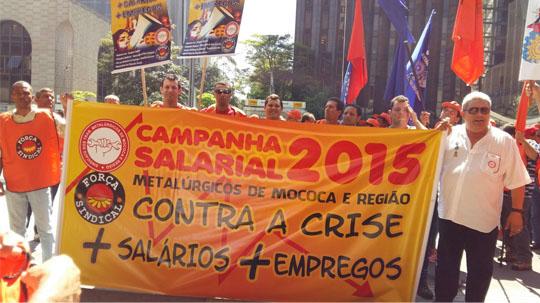 pauta000 Metalúrgicos do Estado de São Paulo entregam Pauta da Campanha Salarial 2015. Mococa estava presente.