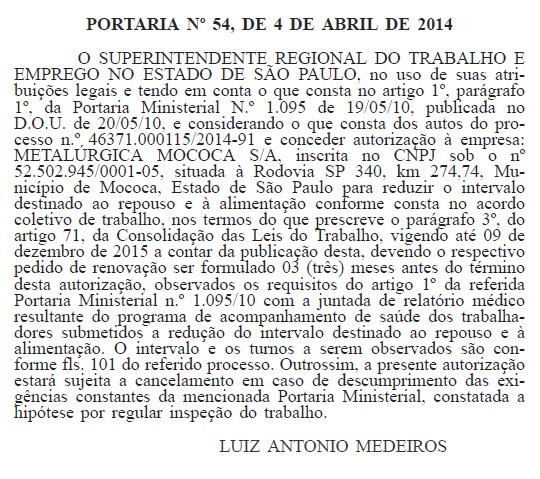portaria50 Sindicato defende e conquista portaria especial do Ministério do Trabalho à Empresa Metalúrgica Mococa S/A