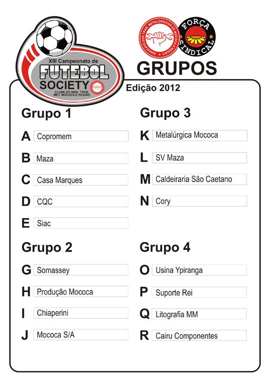 sorteiofut201203a Sorteio define grupos do XIII Campeonato de Futebol Society dos metalúrgicos de Mococa e região