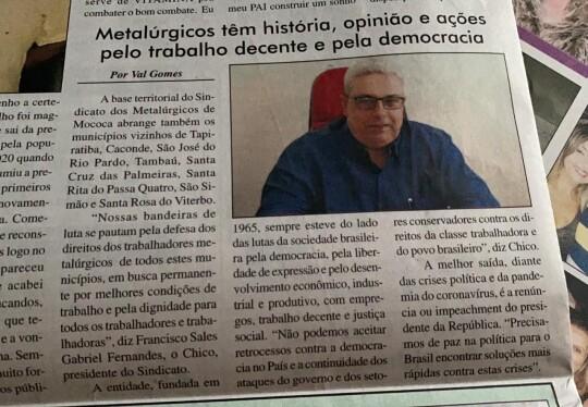 Jornal O Destaque, de Mococa, publica matéria sobre o Sindicato