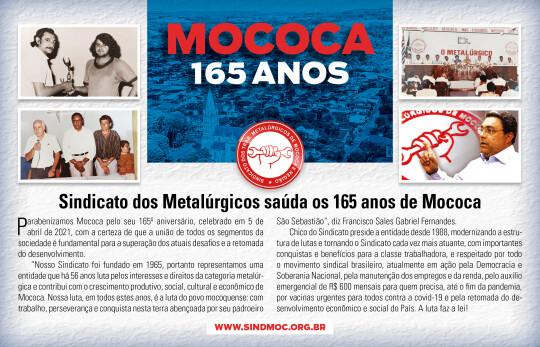 1 aniver mococa 2021 540x347 Metalúrgicos saúdam aniversário de Mococa   5 de abril de 2021