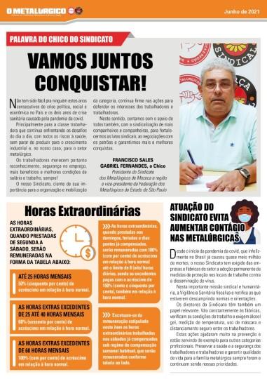 """Jornal """"O Metalúrgico""""   edição junho 2021"""